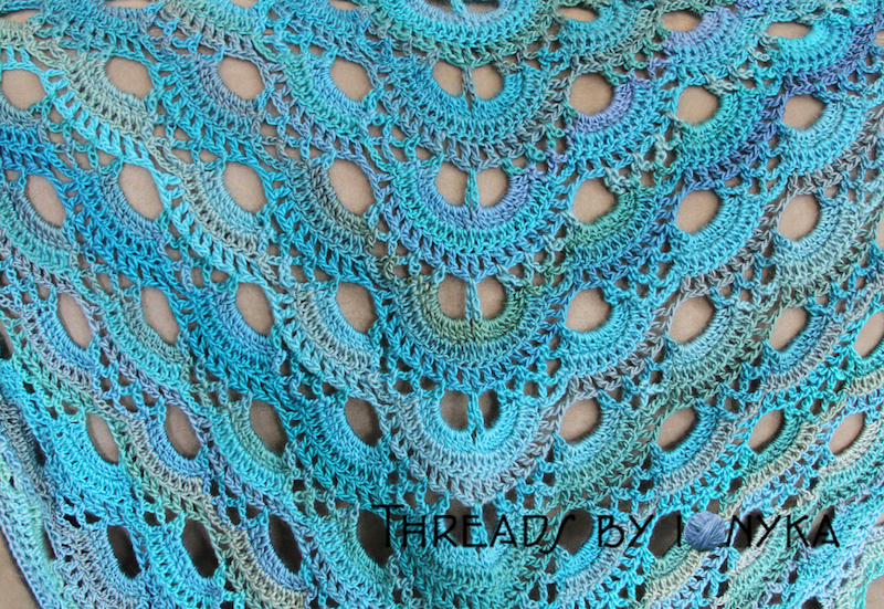 Scalloped Triangle Shawl Crochet Pattern : My German Scalloped Triangle Shawl - Threads by ionyka
