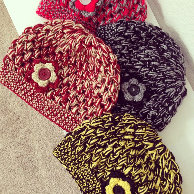 Bubble hats are in production! What team colors should I do next!? #bubblehats #crochet #football #goteam #staywarm