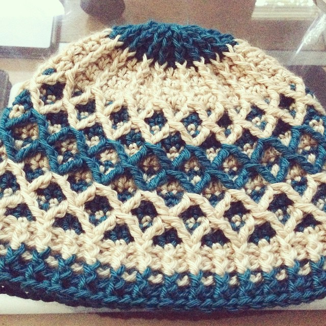 Finished this hat for a friend who moved to North Dakota recently! #diamondhat #crochet #customorder #staywarm
