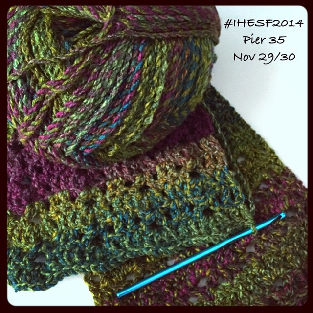 Coming soon! Warm colorful scarves, cozy and soft. Debuting at the #IHESF2014 at Pier 35 Nov 29/30! #sfetsy #shoplocal #sanfrancisco #fallaccessories #cozy #scarves #handmade #crochet